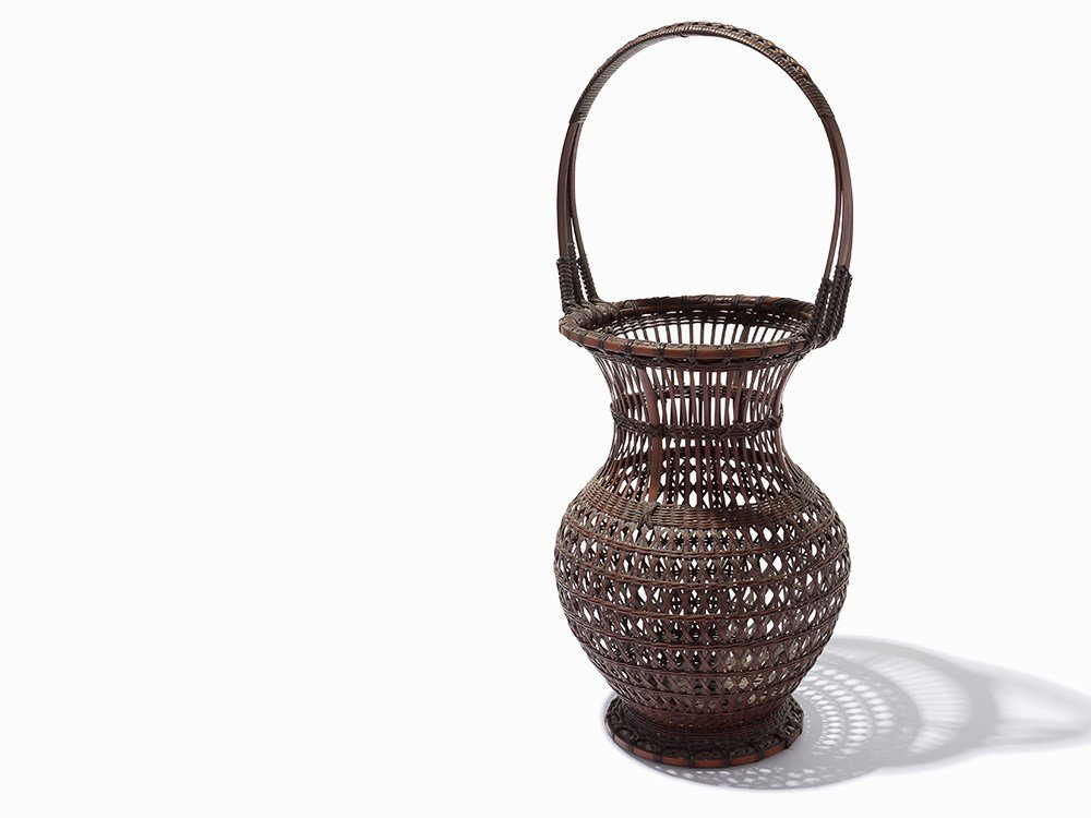 Ikebana Bamboo Basket, Signed Shinshinsai, Japan, Meiji