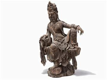 Rare and Large Polychrome Wood Figure of Guanyin, Ming