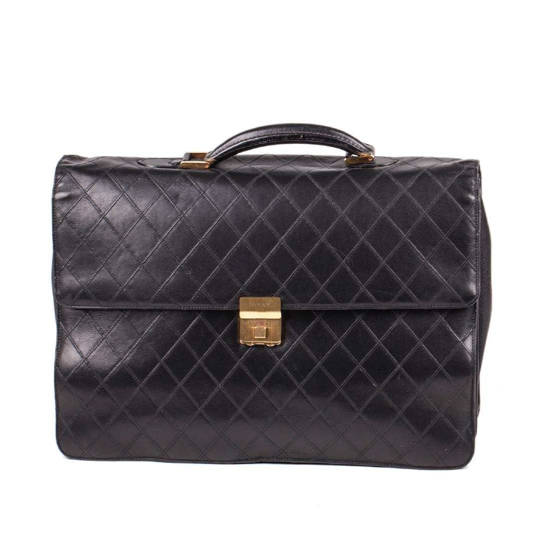 Leather Chanel briefcase