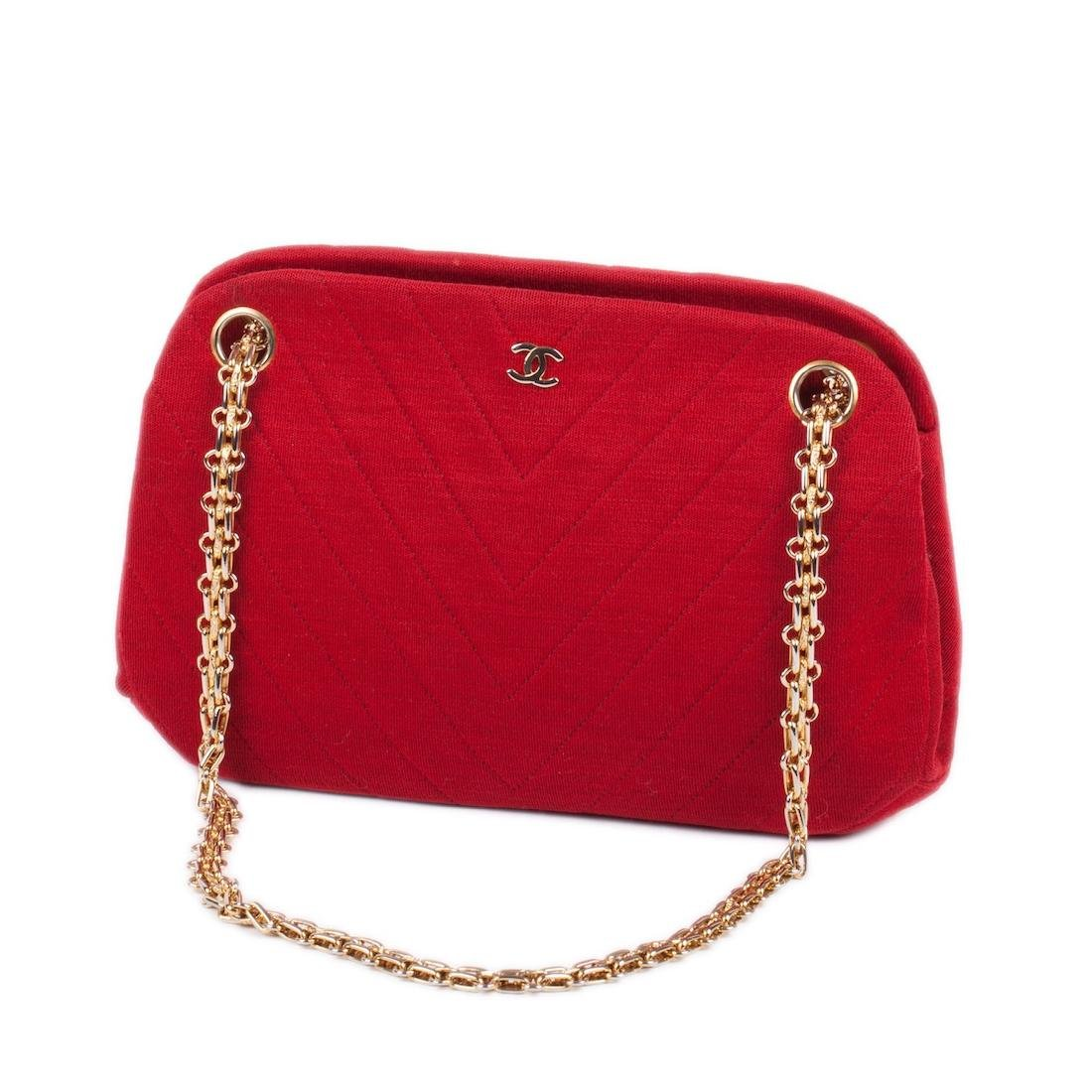 Chanel red quilted jarcey bag