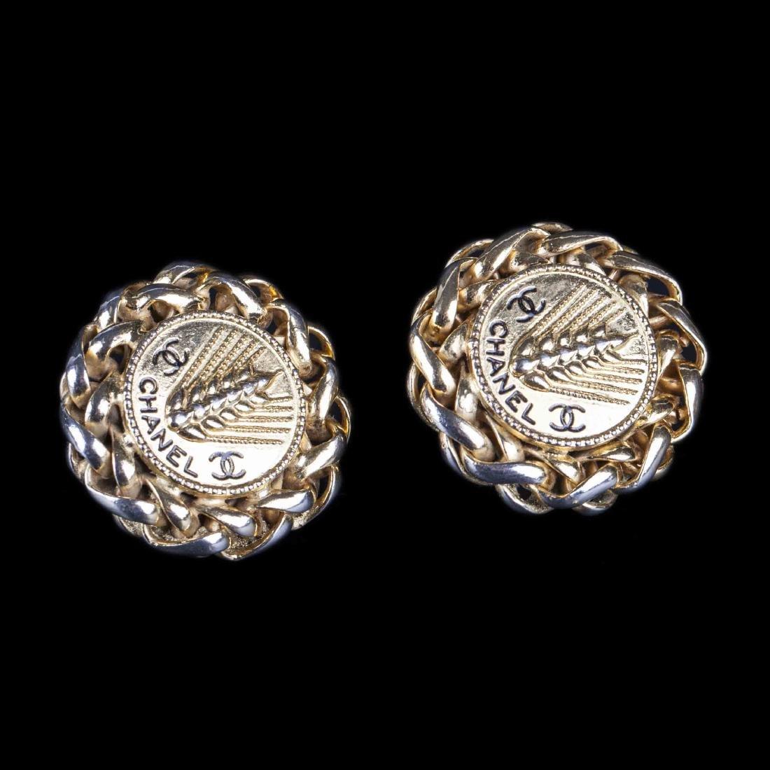 Chanel vintage wheat sheaf clip on earrings (80's-early