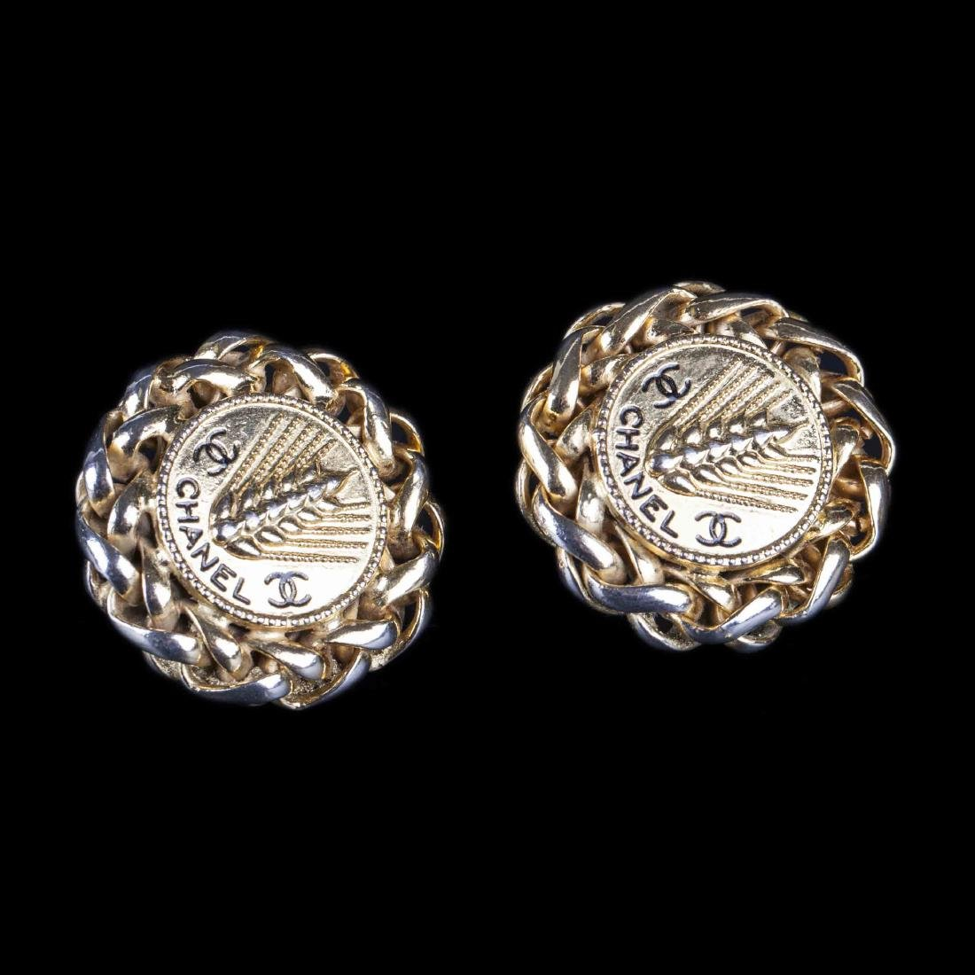 Chanel vintage wheat sheaf clip on earrings (80's-early