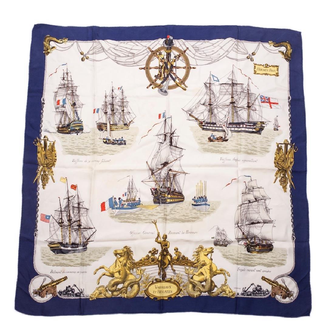 """Rare Hermes """"Vaisseaux et frégates"""" silk scarf. 1964"""