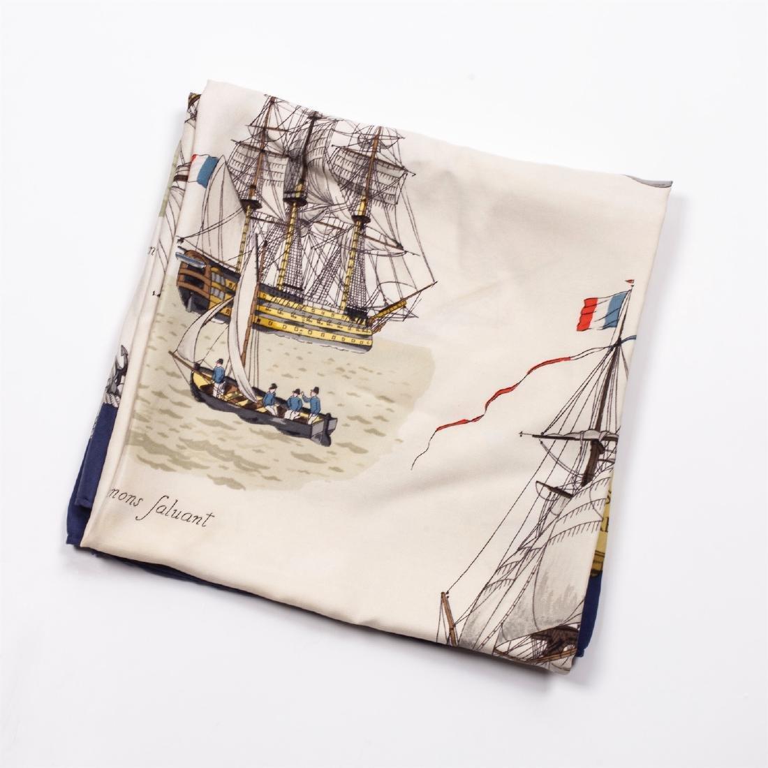 """Rare Hermes """"Vaisseaux et frégates"""" silk scarf. 1964 - 2"""