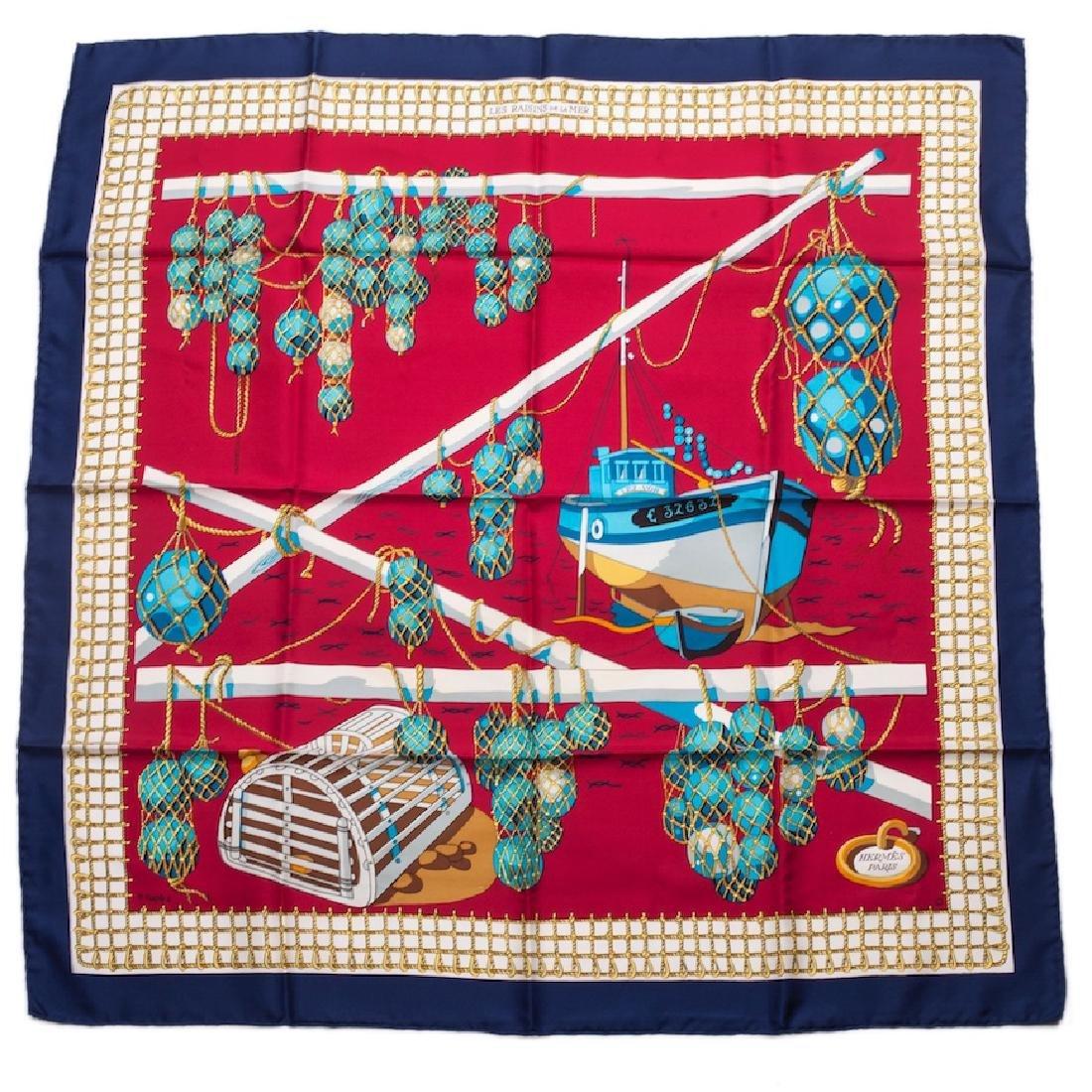 """Hermès """"Les raisins de la mer"""" silk scarf. 1967"""