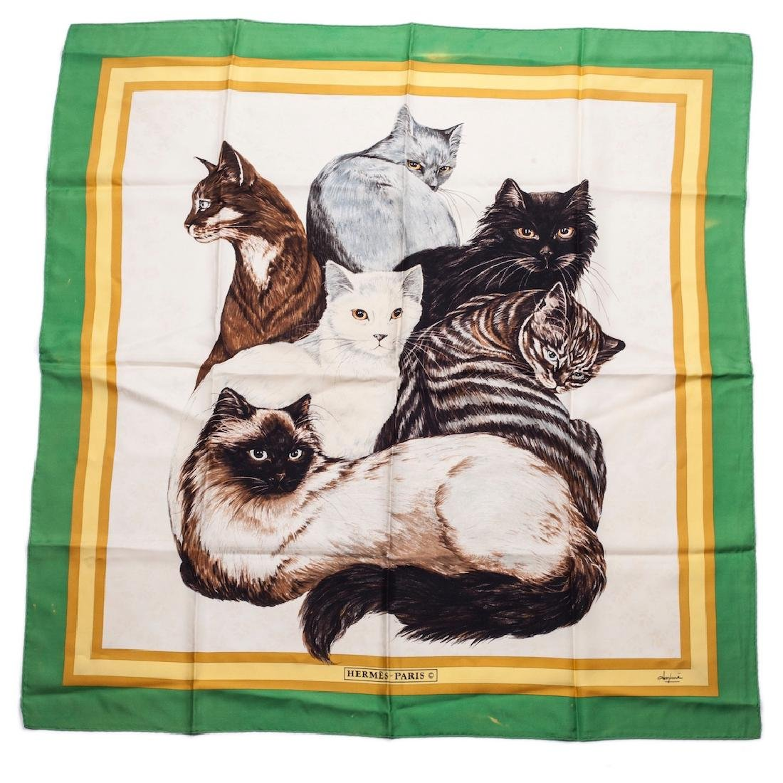 "Rare Hermes ""Les Chats"" silk (jacquard) scarf. 1985"