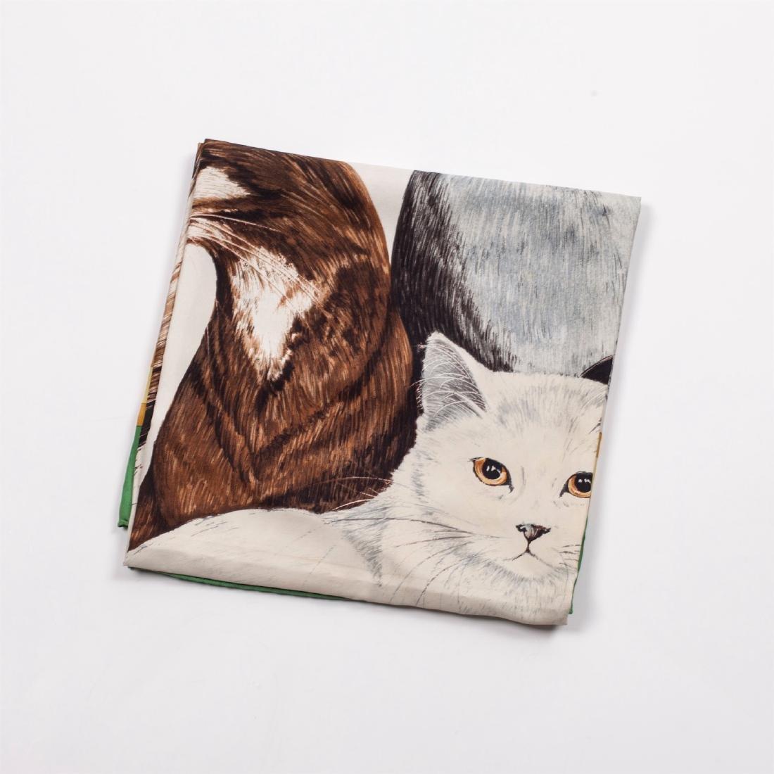 "Rare Hermes ""Les Chats"" silk (jacquard) scarf. 1985 - 2"