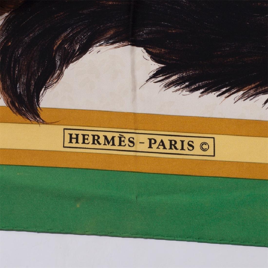 "Rare Hermes ""Les Chats"" silk (jacquard) scarf. 1985 - 3"