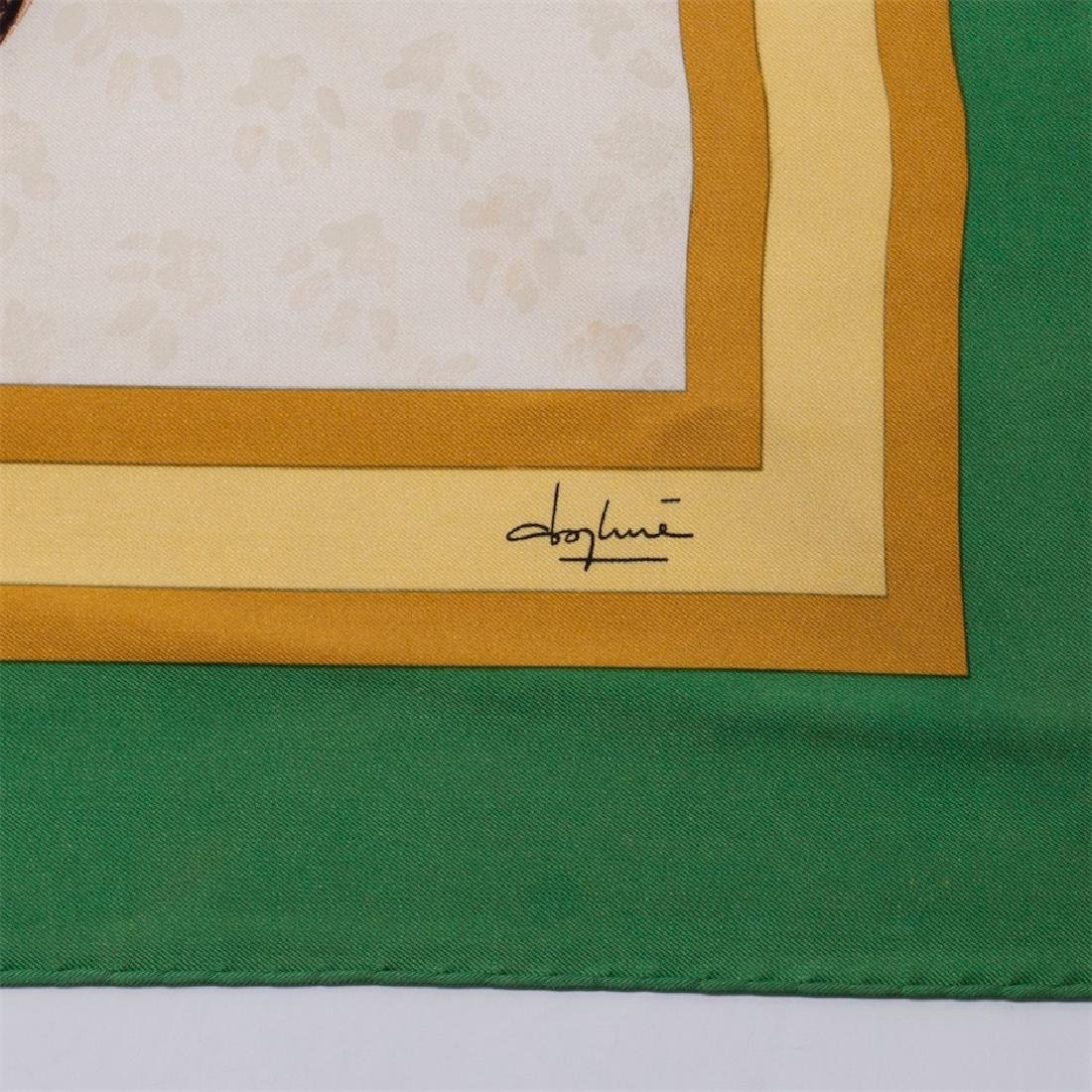 "Rare Hermes ""Les Chats"" silk (jacquard) scarf. 1985 - 4"