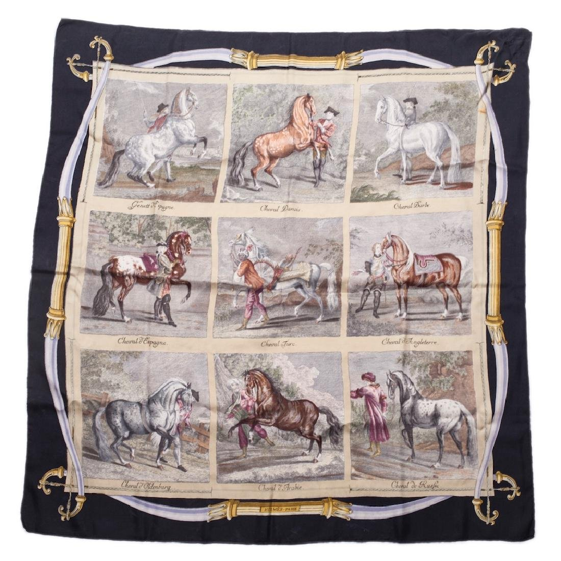 "Exceptional and rare Hermes ""Chevaux du Monde"" silk"