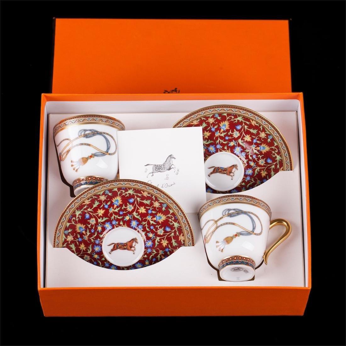 """Hermès """"Cheval d'Orient"""" porcelain tete-a-tete coffee"""