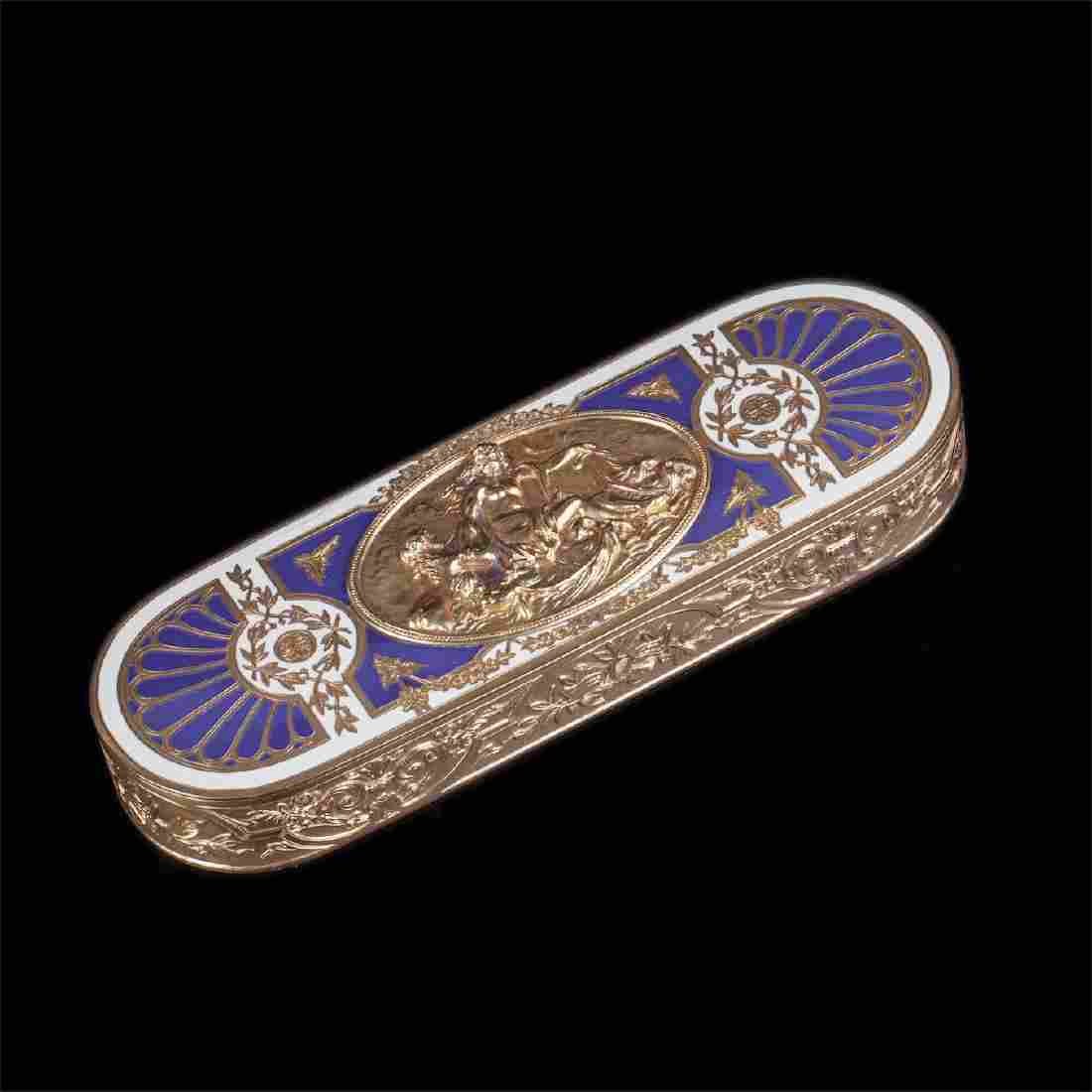 Antique French silver gilt and enamel box
