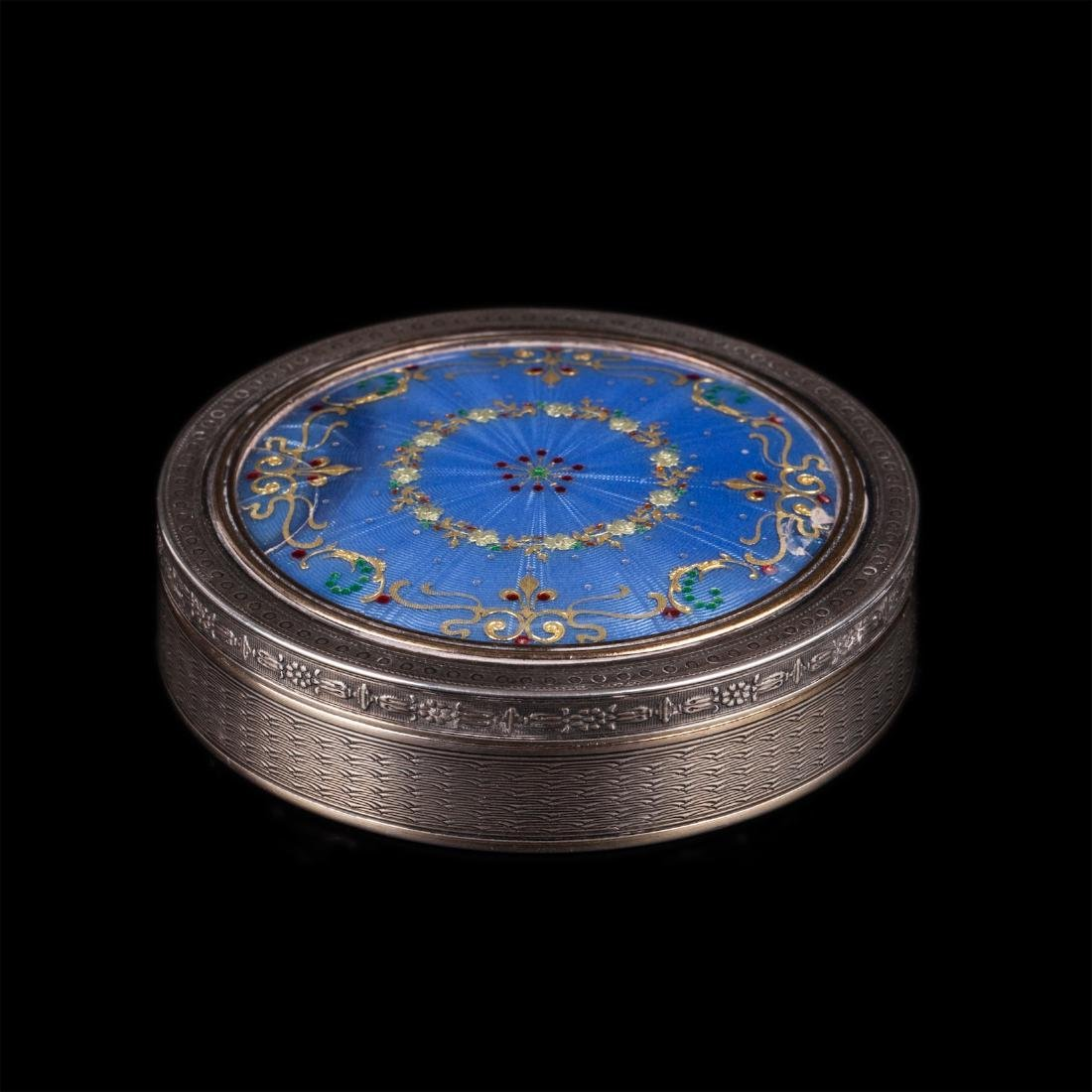 Antique French silver and guilloche enamel snuff box