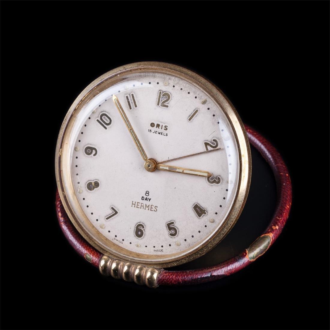Vintage Hermes desk clock with alarm