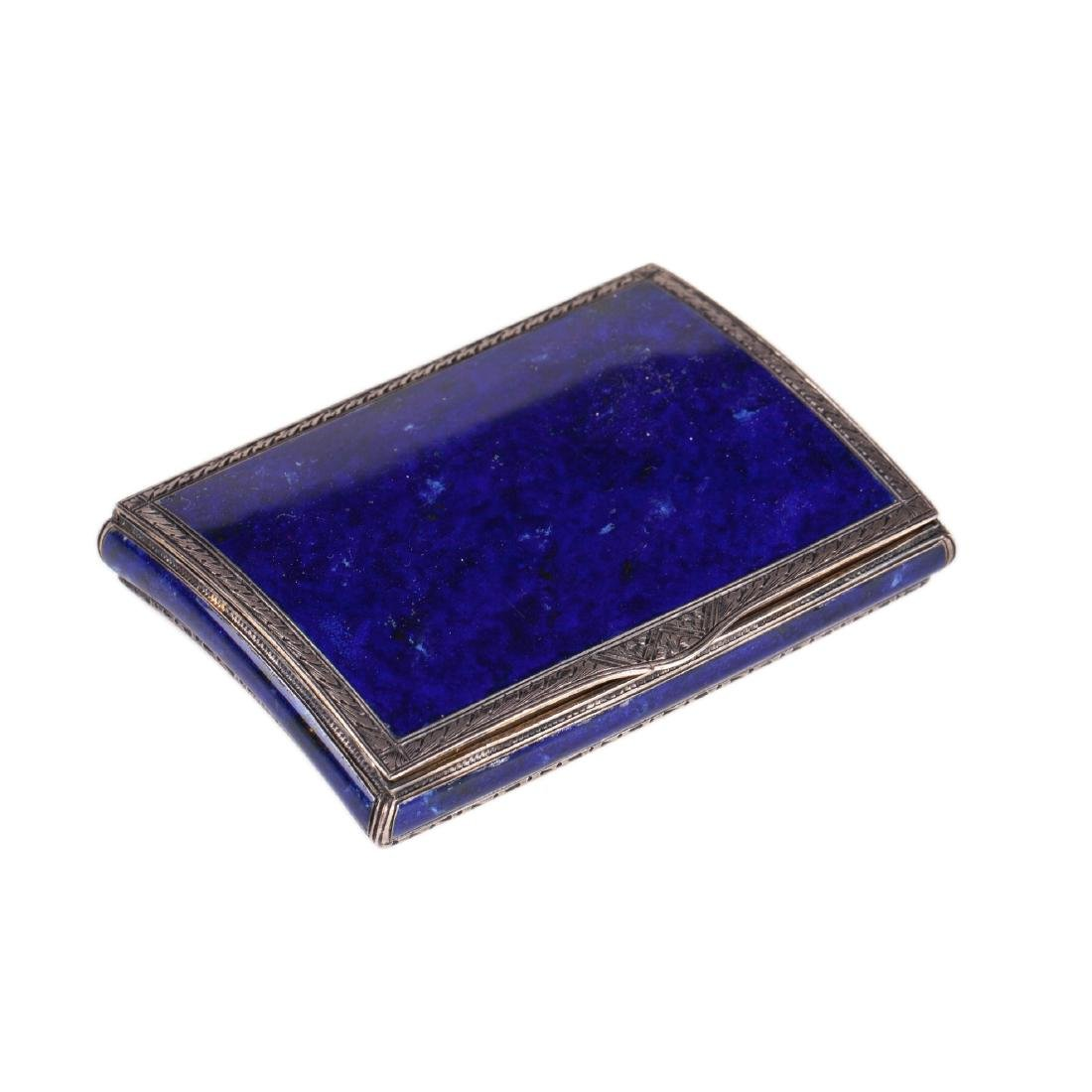 Antique silver and electric blue guilloche enamel box