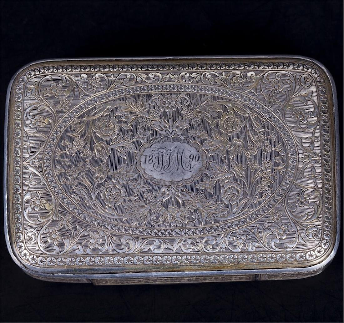 Antique Turkish silver cigarette case with a floral - 2