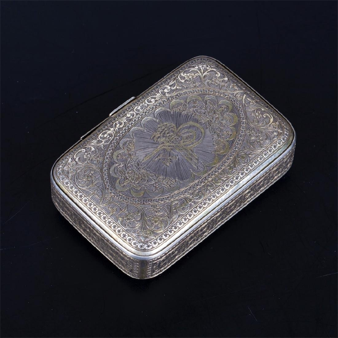 Antique Turkish silver cigarette case with a floral - 3