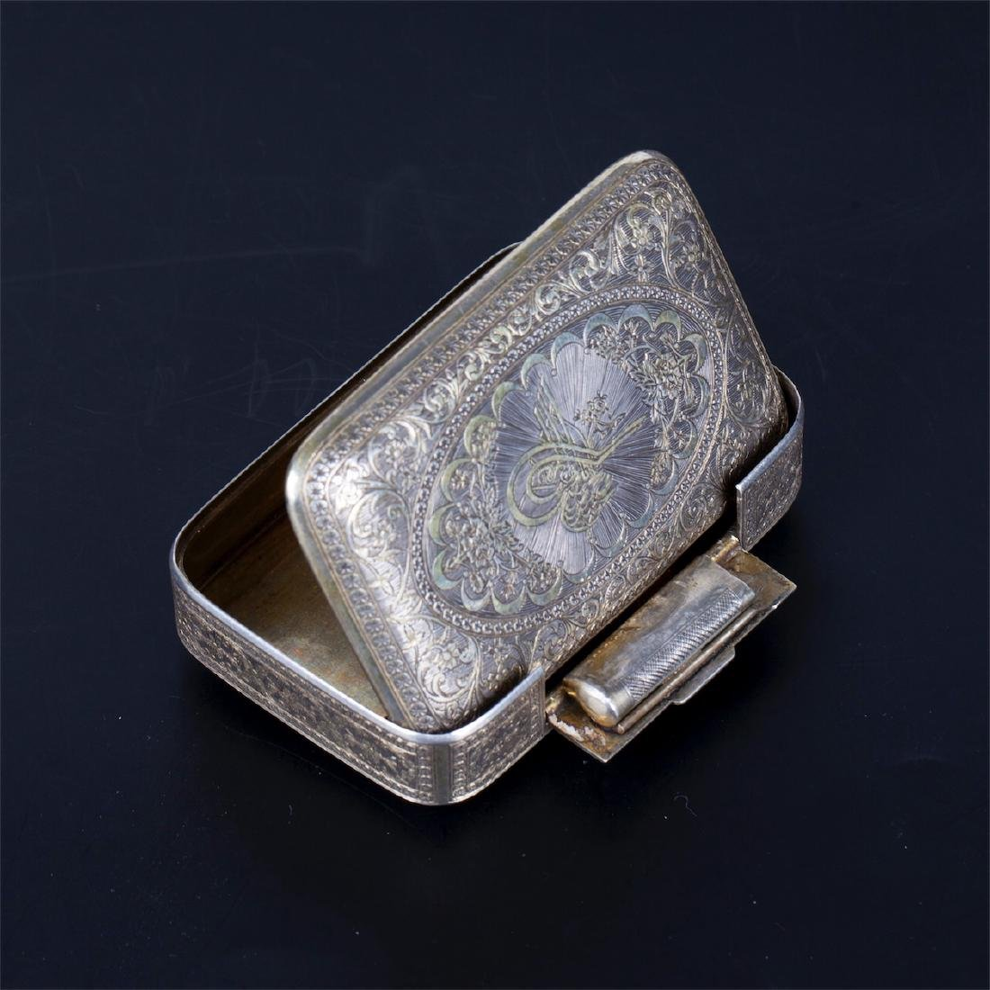 Antique Turkish silver cigarette case with a floral - 4