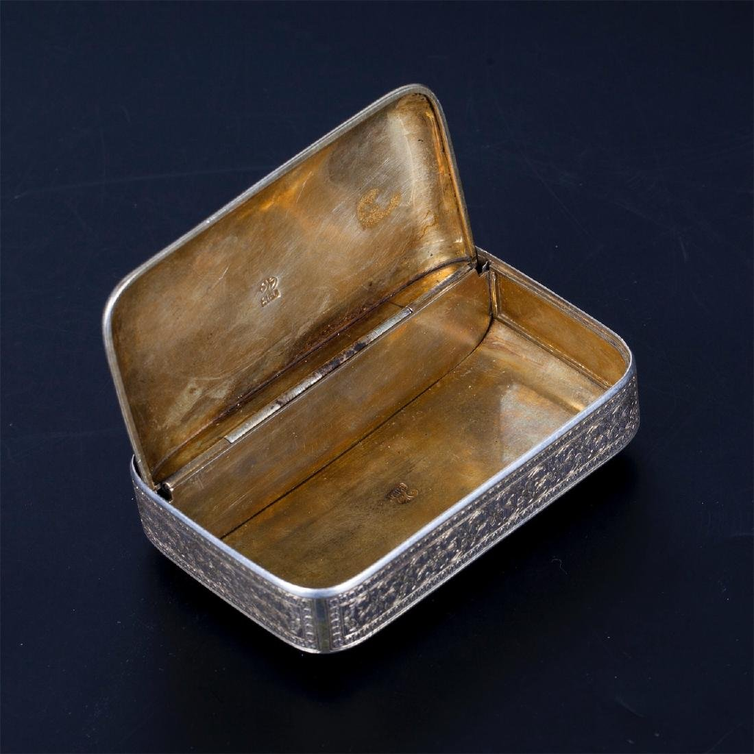 Antique Turkish silver cigarette case with a floral - 5