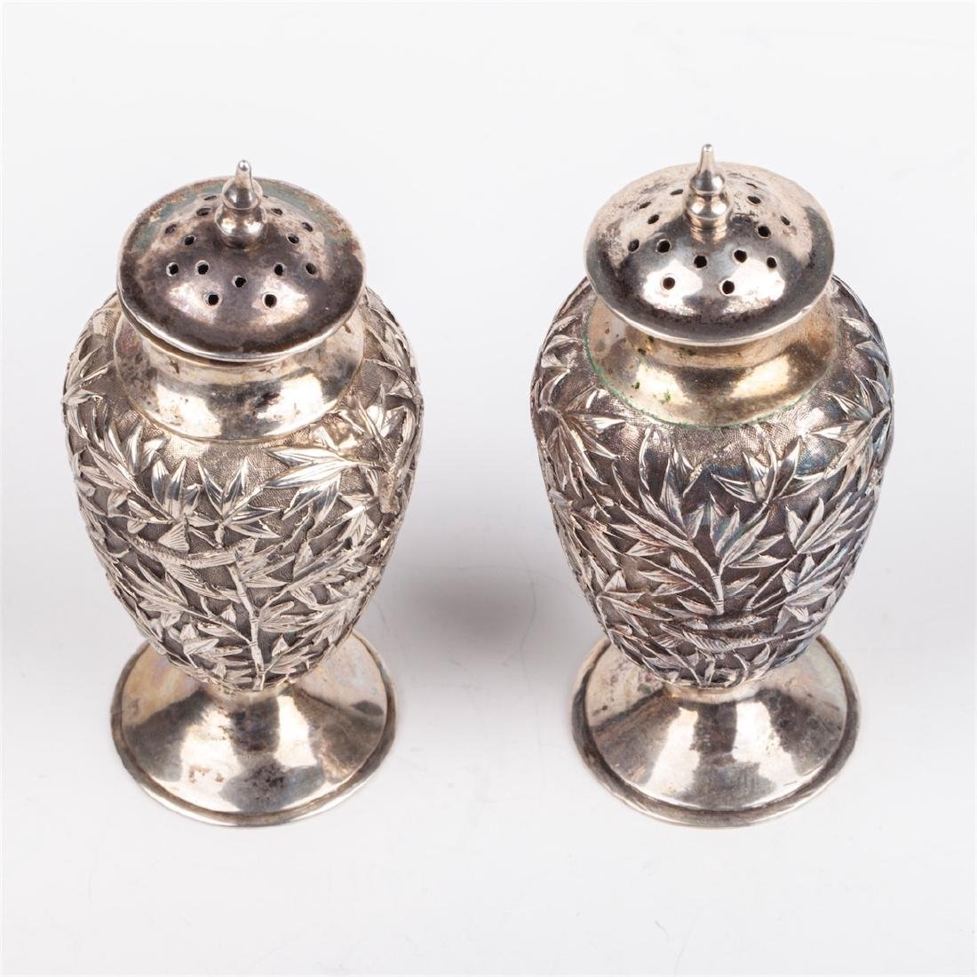 A pair of antique silver salt cellars with floral - 4