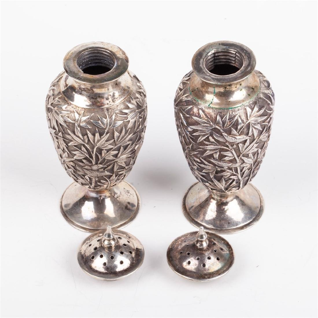 A pair of antique silver salt cellars with floral - 5