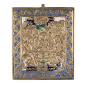 Russian brass and enamel Icon the old Testament Trinity
