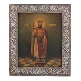Russian Art Nouveau style icon of Saint Tzar Konstantin