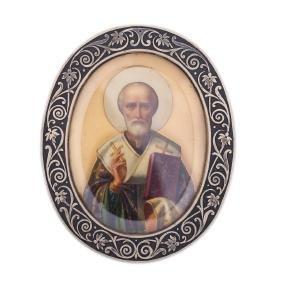Russian travel Icon of Saint Nikolay Wonderworker
