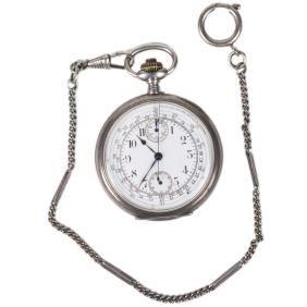 "Silver chronograph pocket watch ""Zenith"""