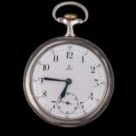 """""""Omega"""" silver open face pocket watch"""