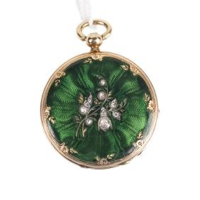 Gold open face pocket watch with diamonds