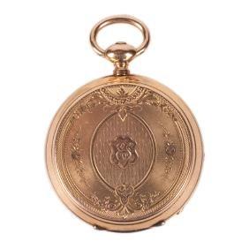 Gold open face pocket watch