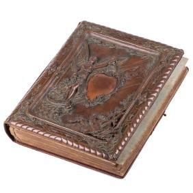 Antique Russian photo album with bronze plaque