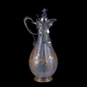 Antique magnificent decanter with French Daum glass
