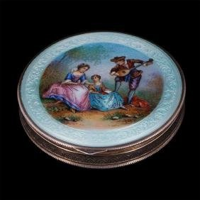 Antique silver and hand painted enamel powder box