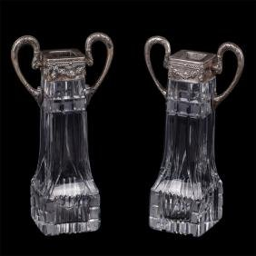 Russian imperial crystal vases in silver mounting