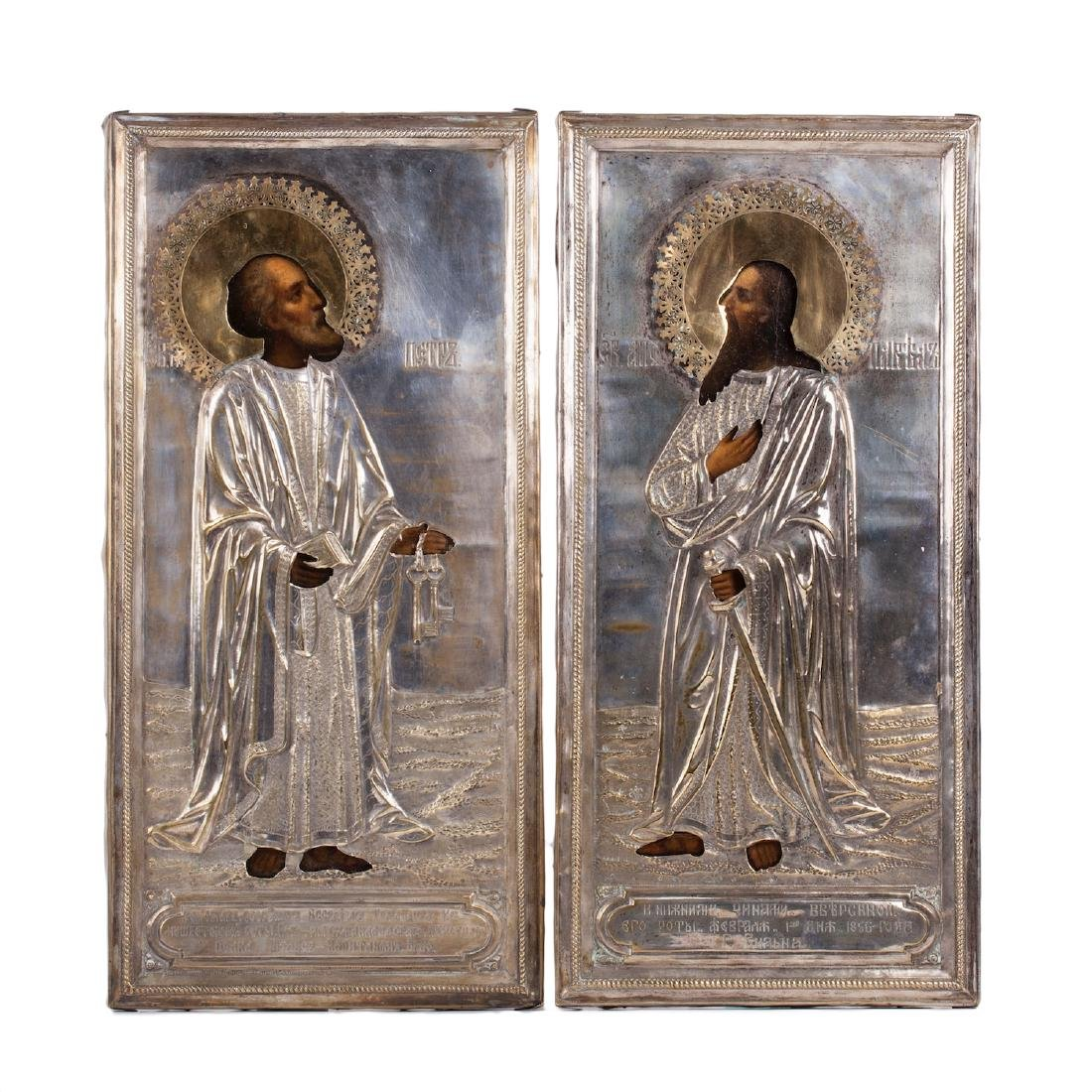 Pair of icons of Saints Peter and Paul
