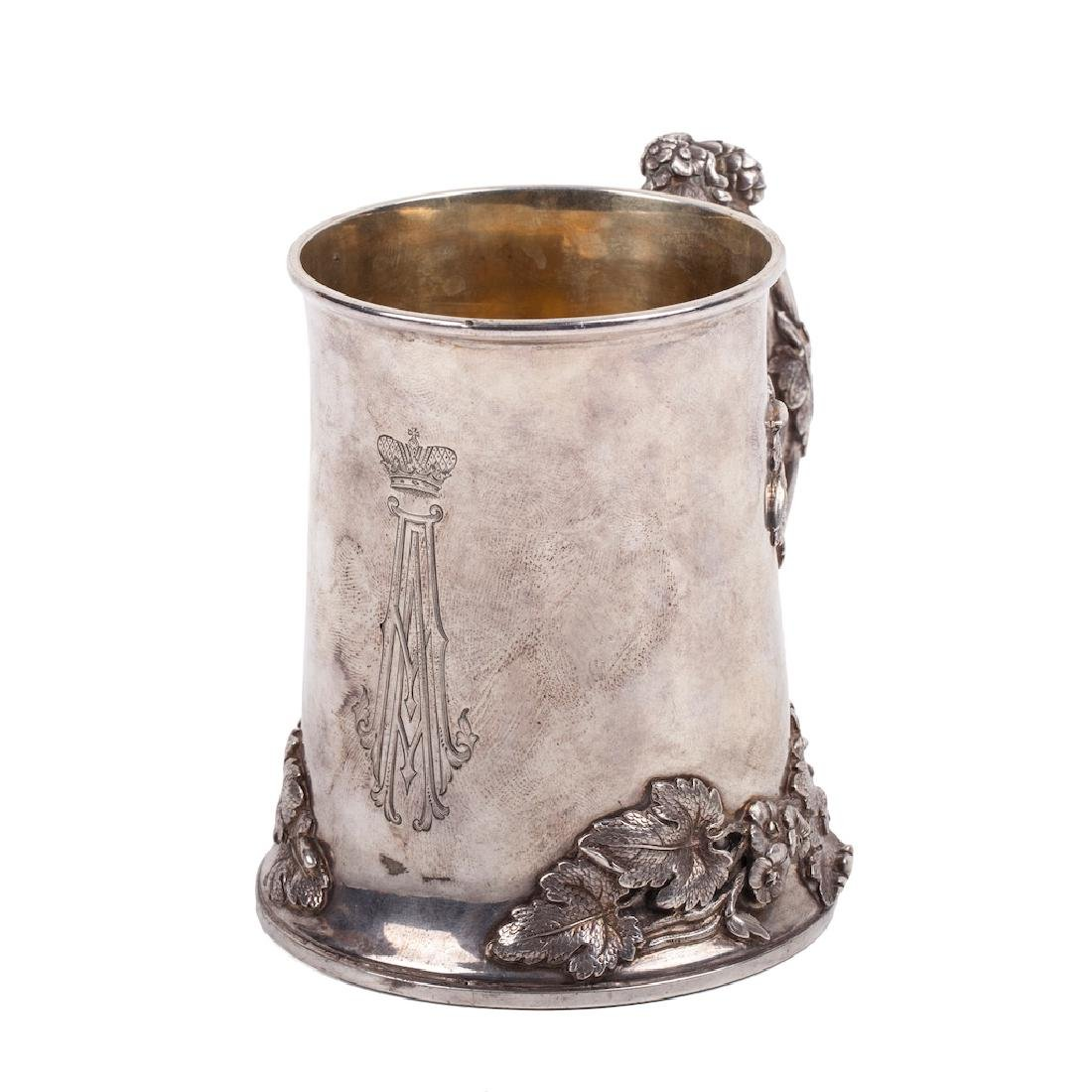 Russian cast silver-gilt jug with glass inlay