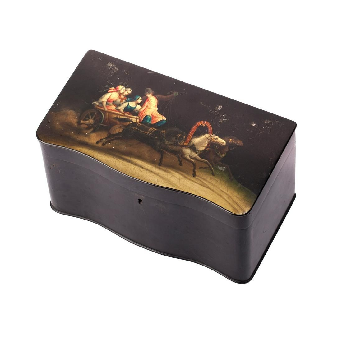 Russian tea caddy with a painted troyka scene