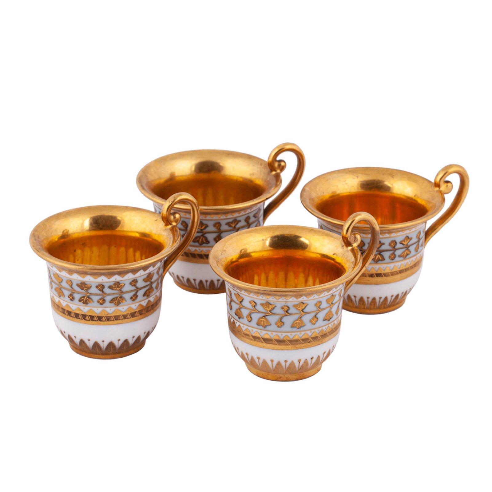 A set of 4 Russian porcelain cups