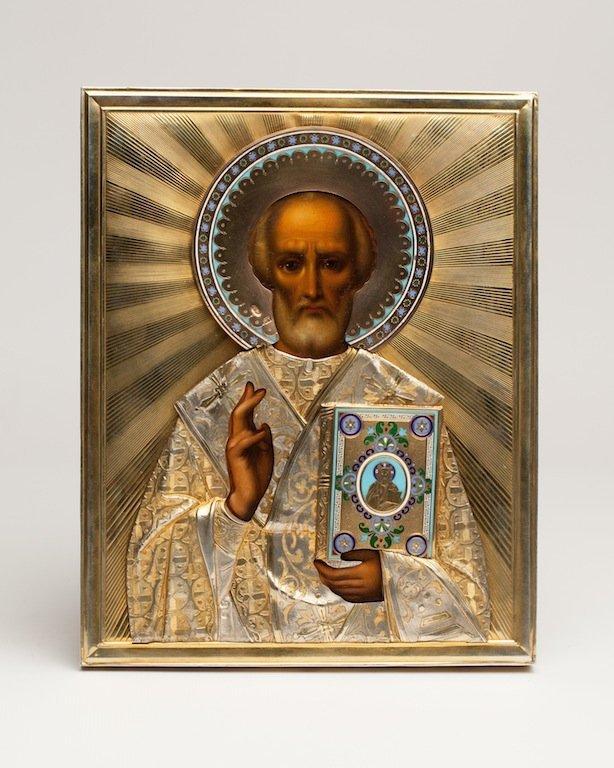 Icon Saint Nikolay Wonderworker. Khlebnikow.