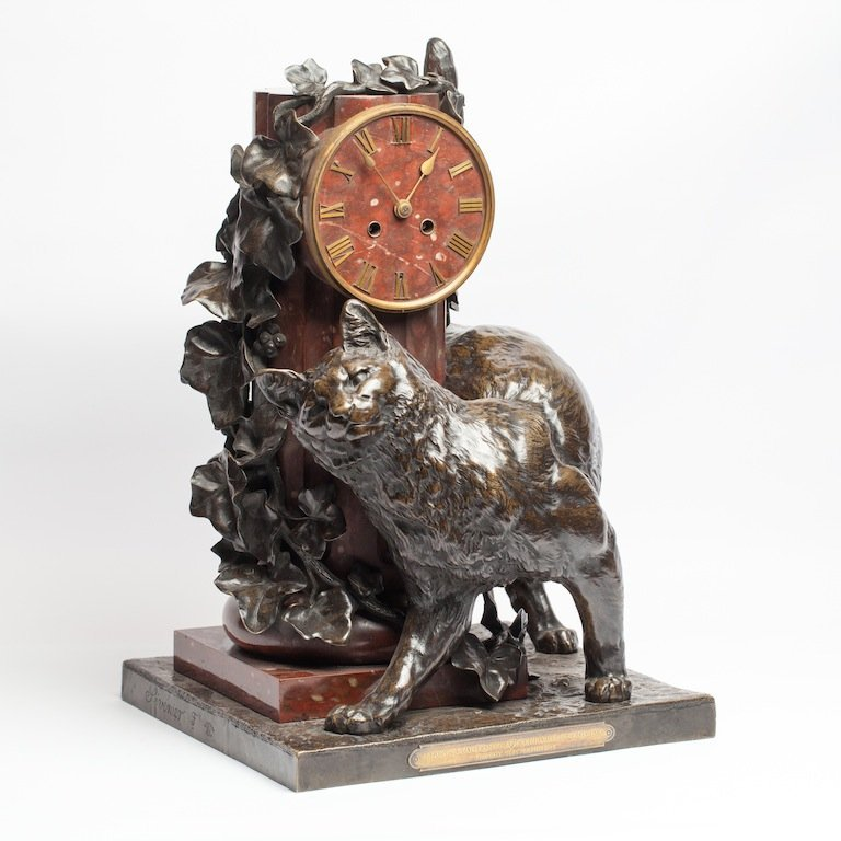 French desk clock with a cat in art-nouveau style