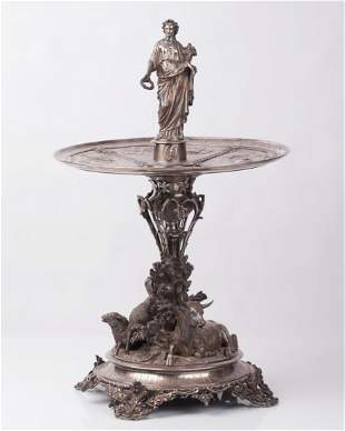 French Silver figural Centerpiece. Christofle