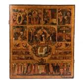 Fine and rare Russian icon of Hexaemeron. 1800.