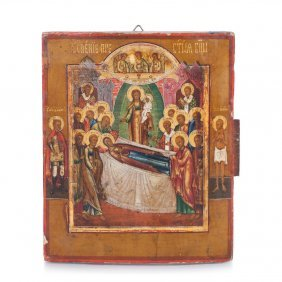 Russian Icon Of Dormition Of The Mother Of God.