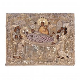Rare Russian Icon Of Mother Of God Assumption.