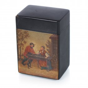 Russian Lacquer Box For Playing Cards. Workshop Of