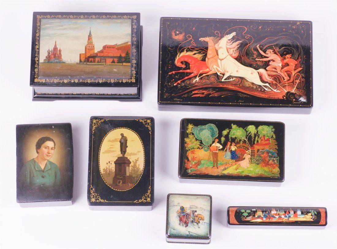 Set of 7 soviet lacquer boxes. Palekh, Fedoskino.