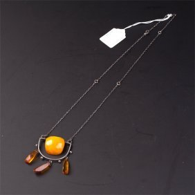 Natural Baltic Amber Necklace On Silver Chain.