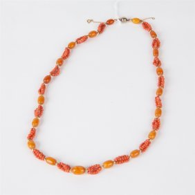 Coral And Amber Antique Necklace.